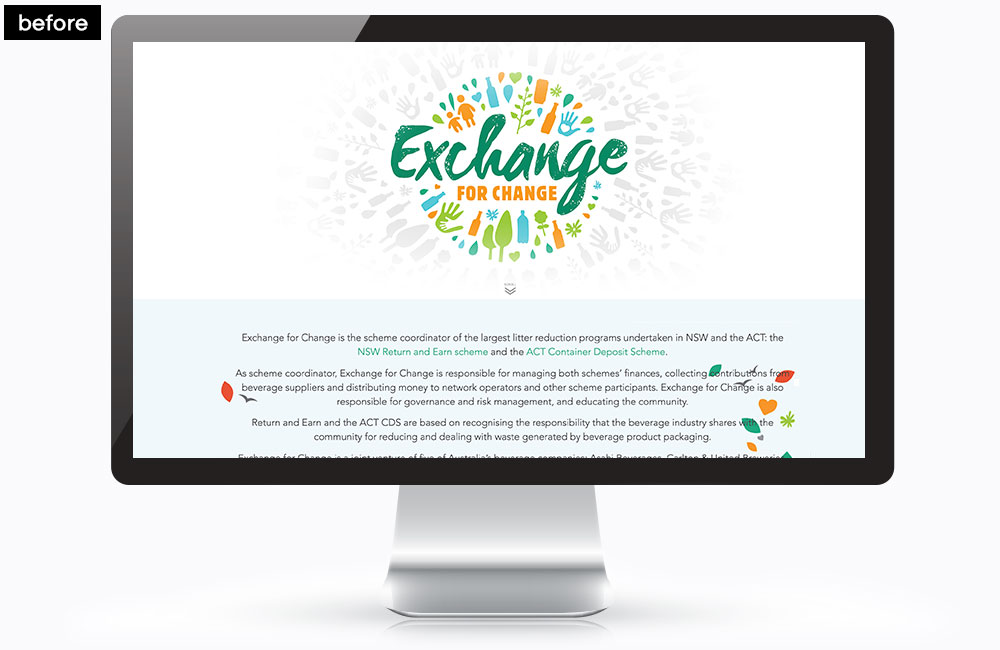 Exchange For Change Homepage - Before the redesign
